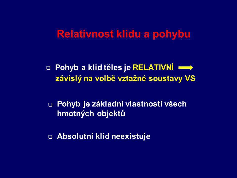 Relativnost klidu a pohybu   Pohyb a klid těles je RELATIVNÍ závislý na volbě vztažné soustavy VS  Pohyb je základní vlastností všech hmotných objektů  Absolutní klid neexistuje