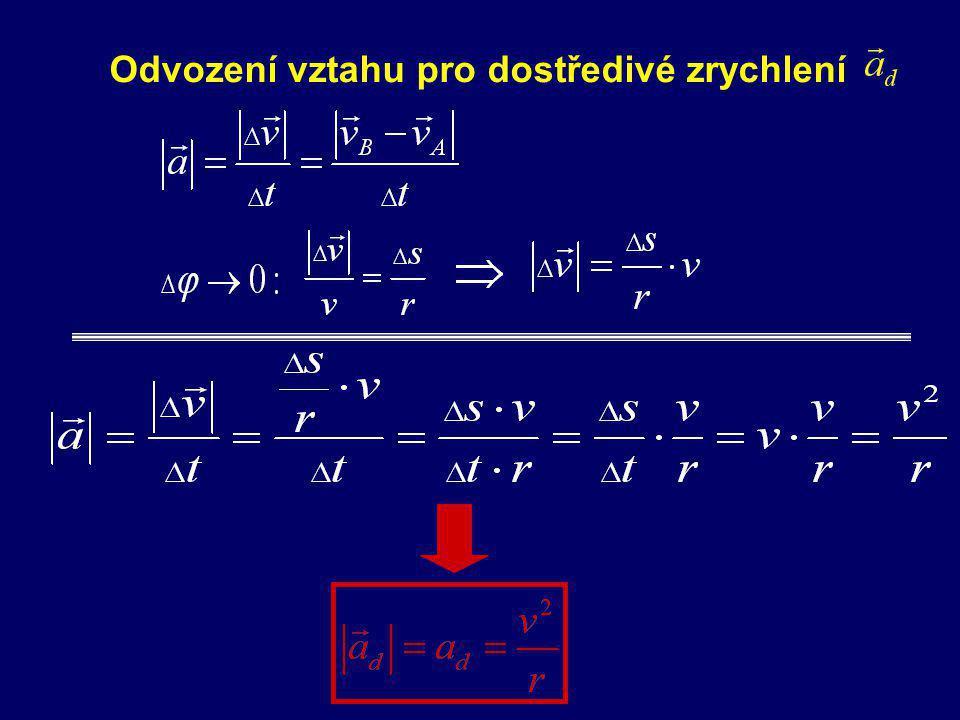 -vektor kolmý k vektoru okamžité rychlosti - směřuje do středu kružnice, po níž se HB pohybuje DOSTŘEDIVÉ ZRYCHLENÍ normálové zrychlení rovnoměrnéhopo