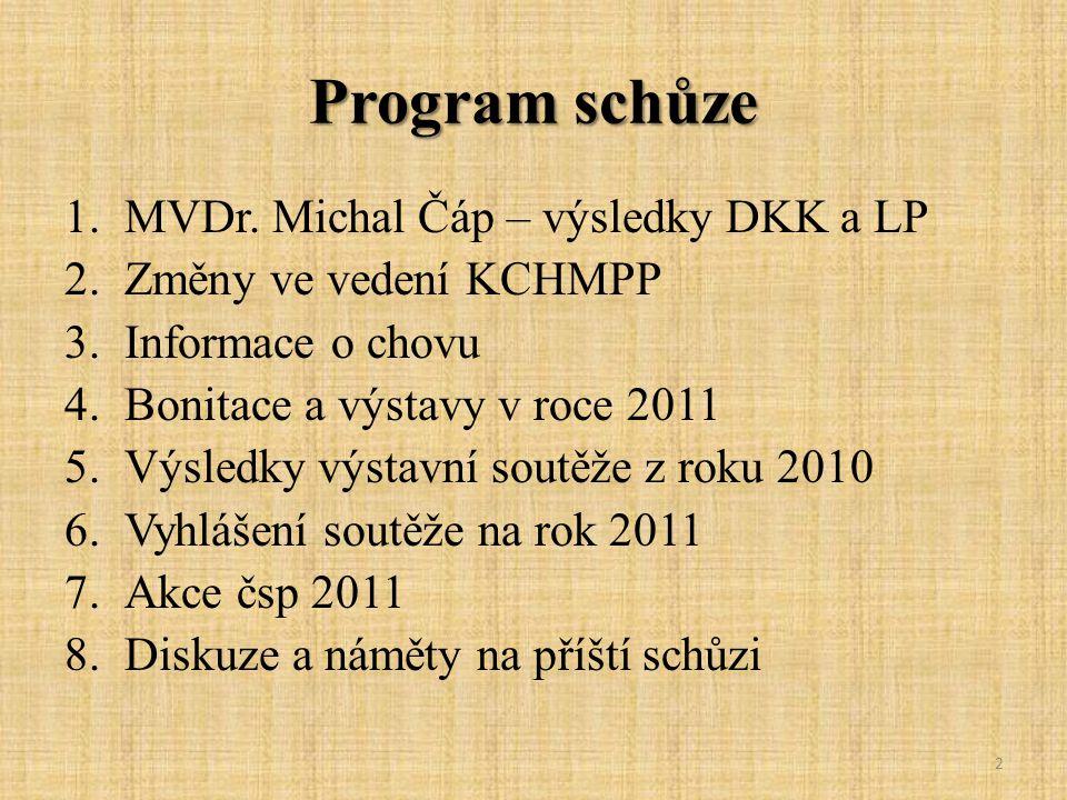 Program schůze 1.MVDr. Michal Čáp – výsledky DKK a LP 2.Změny ve vedení KCHMPP 3.Informace o chovu 4.Bonitace a výstavy v roce 2011 5.Výsledky výstavn