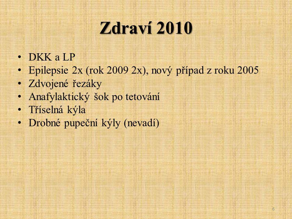 Zdraví 2010 DKK a LP Epilepsie 2x (rok 2009 2x), nový případ z roku 2005 Zdvojené řezáky Anafylaktický šok po tetování Tříselná kýla Drobné pupeční ký