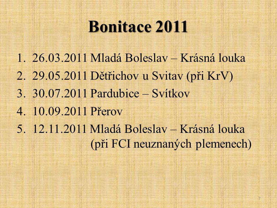 Bonitace 2011 1.26.03.2011 Mladá Boleslav – Krásná louka 2.29.05.2011 Dětřichov u Svitav (při KrV) 3.30.07.2011 Pardubice – Svítkov 4.10.09.2011 Přero