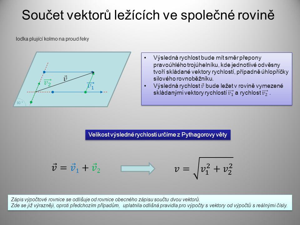 Součet vektorů ležících ve společné rovině loďka plující kolmo na proud řeky 90 ° Velikost výsledné rychlosti určíme z Pythagorovy věty Zápis výpočtové rovnice se odlišuje od rovnice obecného zápisu součtu dvou vektorů.
