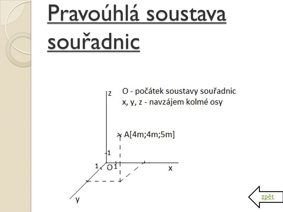 Trajektorie a dráha hmotného bodu Trajektorie – množina bodů, kterými hmotný bod prochází – geometrická čára (tvar trajektorie závisí na volbě soustavy)  není fyzikální veličinou Dráha – délka trajektorie  fyzikální veličina – značí se s  jednotkou je metr  dráha je funkcí času s = f(t) zpět