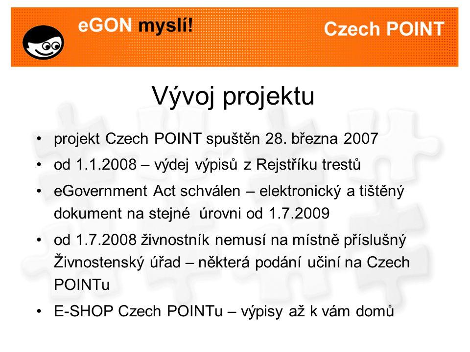 Vývoj projektu projekt Czech POINT spuštěn 28.