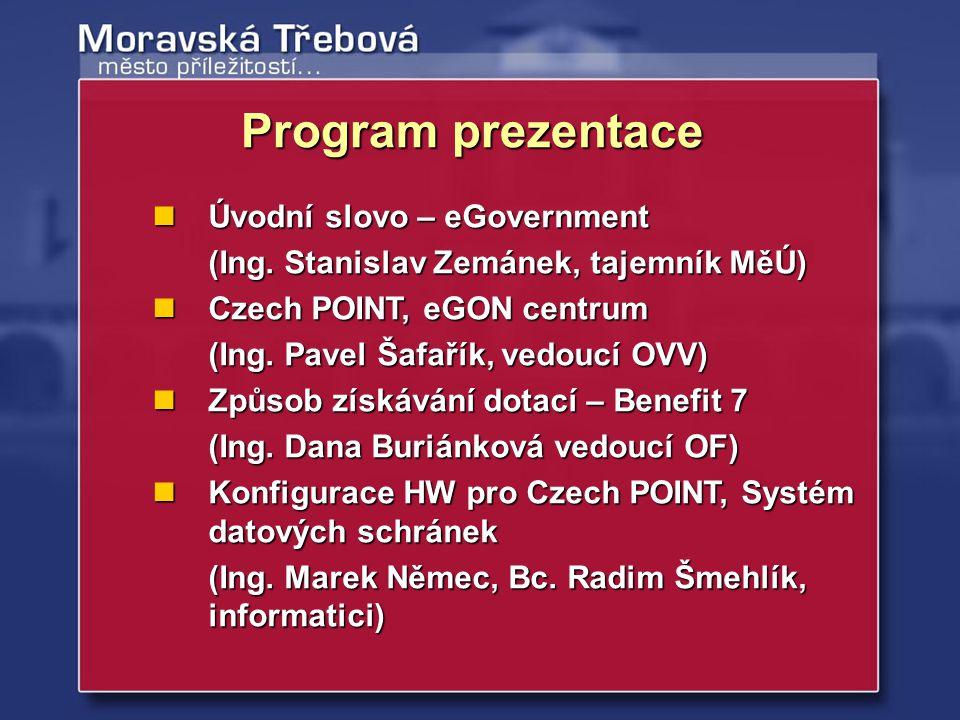 Úvodní slovo – eGovernment Úvodní slovo – eGovernment (Ing. Stanislav Zemánek, tajemník MěÚ) Czech POINT, eGON centrum Czech POINT, eGON centrum (Ing.