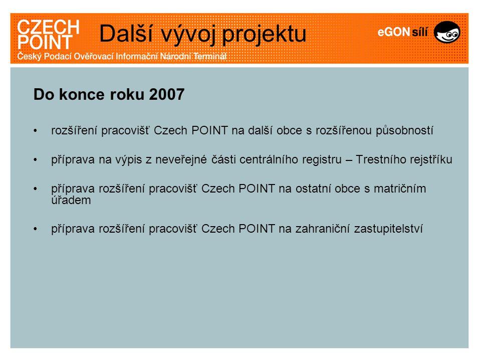 Další vývoj projektu Do konce roku 2007 rozšíření pracovišť Czech POINT na další obce s rozšířenou působností příprava na výpis z neveřejné části cent
