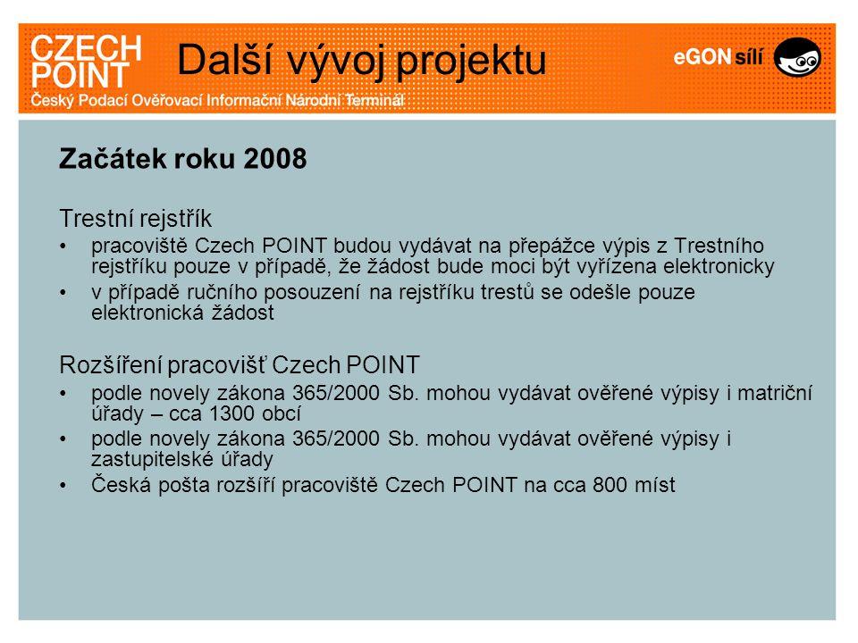 Začátek roku 2008 Trestní rejstřík pracoviště Czech POINT budou vydávat na přepážce výpis z Trestního rejstříku pouze v případě, že žádost bude moci b