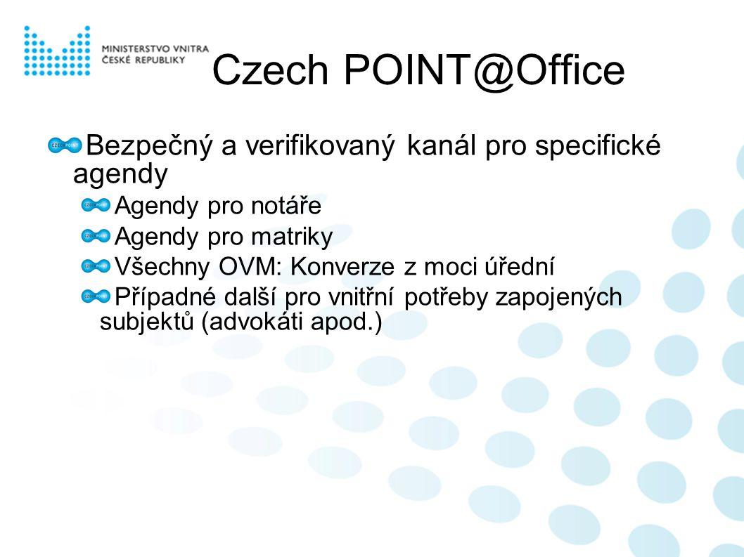 Czech POINT@Office Bezpečný a verifikovaný kanál pro specifické agendy Agendy pro notáře Agendy pro matriky Všechny OVM: Konverze z moci úřední Případné další pro vnitřní potřeby zapojených subjektů (advokáti apod.)