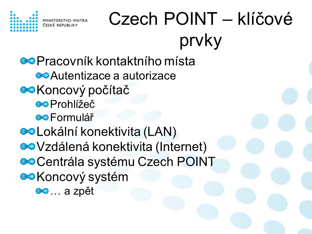Czech POINT – klíčové prvky Pracovník kontaktního místa Autentizace a autorizace Koncový počítač Prohlížeč Formulář Lokální konektivita (LAN) Vzdálená konektivita (Internet) Centrála systému Czech POINT Koncový systém … a zpět