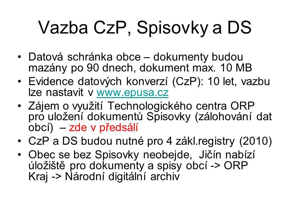 Vazba CzP, Spisovky a DS Datová schránka obce – dokumenty budou mazány po 90 dnech, dokument max.