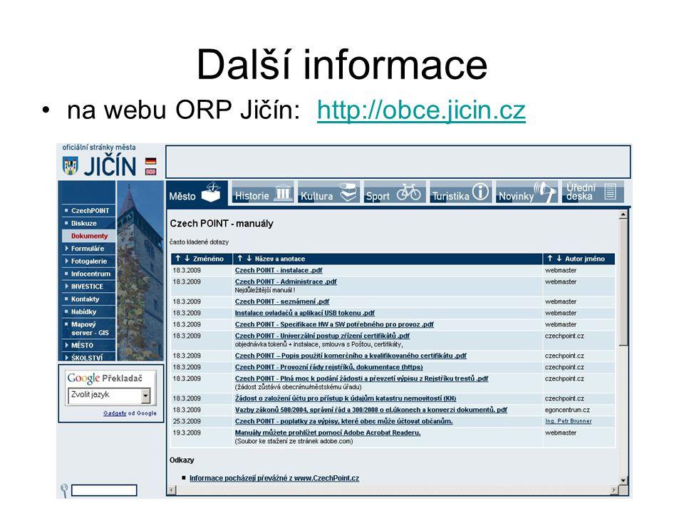 Další informace na webu ORP Jičín: http://obce.jicin.czhttp://obce.jicin.cz