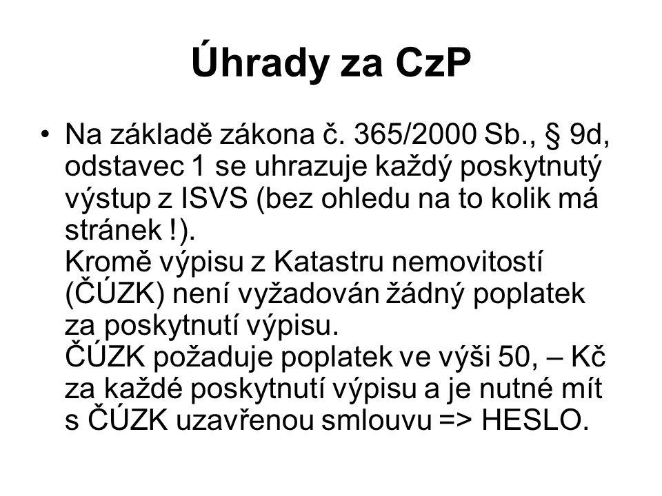 Úhrady za CzP Na základě zákona č.