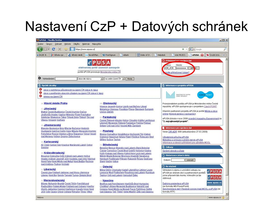 Nastavení CzP + Datových schránek