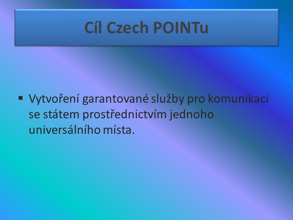 Cíl Czech POINTu  Vytvoření garantované služby pro komunikaci se státem prostřednictvím jednoho universálního místa.