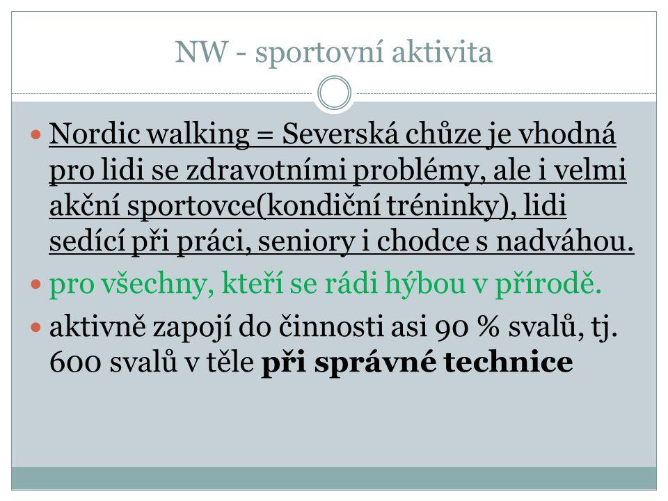 NW - sportovní aktivita Nordic walking = Severská chůze je vhodná pro lidi se zdravotními problémy, ale i velmi akční sportovce(kondiční tréninky), li