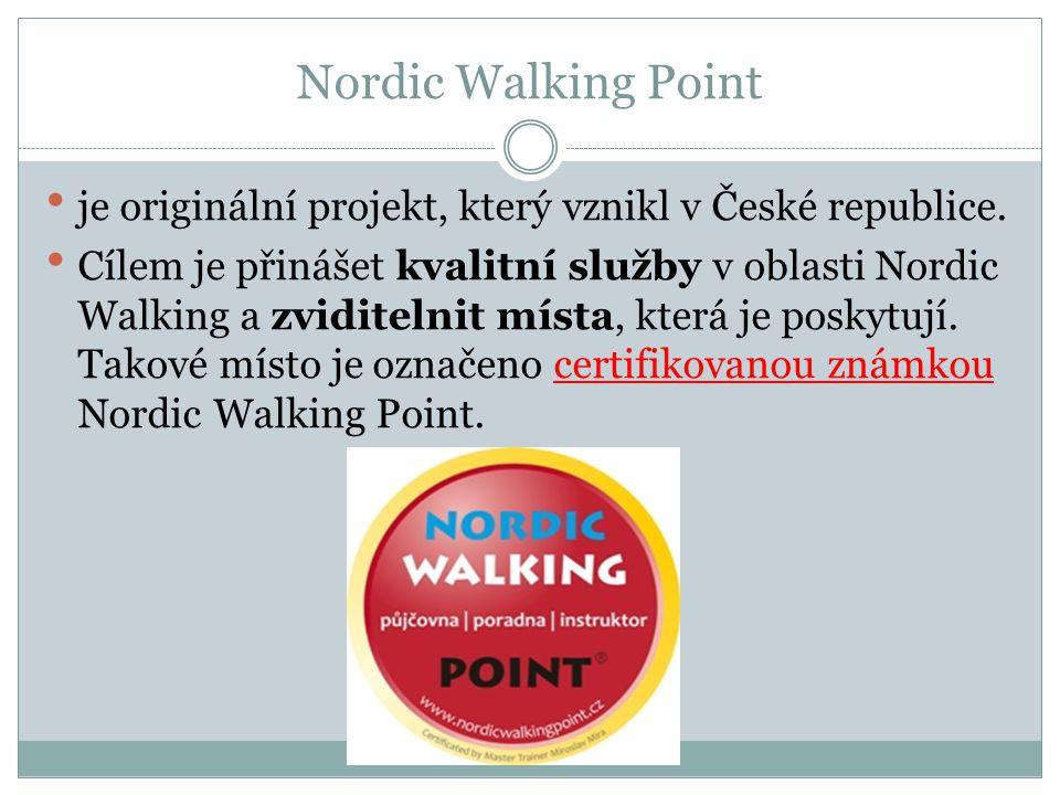 Nordic Walking Point je originální projekt, který vznikl v České republice. Cílem je přinášet kvalitní služby v oblasti Nordic Walking a zviditelnit m