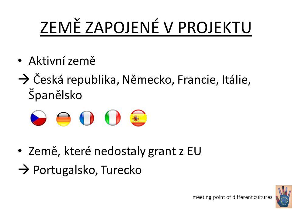 ZEMĚ ZAPOJENÉ V PROJEKTU Aktivní země  Česká republika, Německo, Francie, Itálie, Španělsko Země, které nedostaly grant z EU  Portugalsko, Turecko meeting point of different cultures