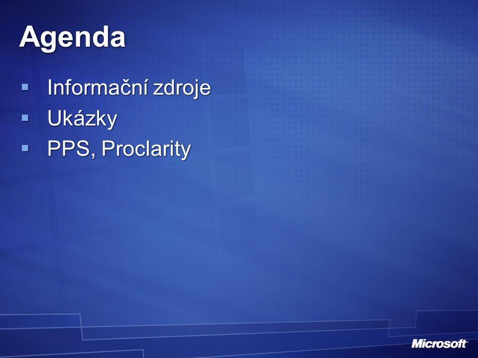 Projekt BI, analýza (přes Proclarity) ETL, DWH, OLAP Proclarity Desktop Professional PAS Sharepoint Scorecardy, plánování BI Platforma Nástroje pro koncové uživatele Aplikace pro Performance Management = PPS