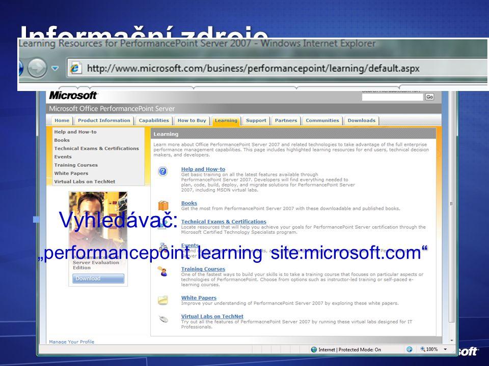"""Informační zdroje   Vyhledávač: """"performancepoint learning site:microsoft.com"""