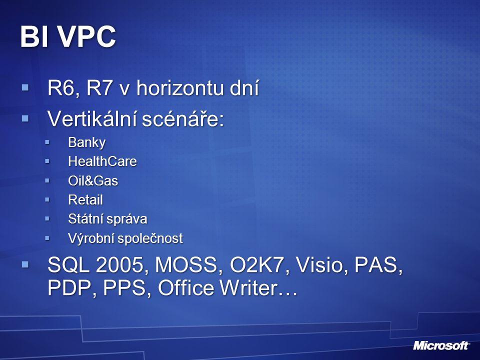 BI VPC  R6, R7 v horizontu dní  Vertikální scénáře:  Banky  HealthCare  Oil&Gas  Retail  Státní správa  Výrobní společnost  SQL 2005, MOSS, O2K7, Visio, PAS, PDP, PPS, Office Writer…