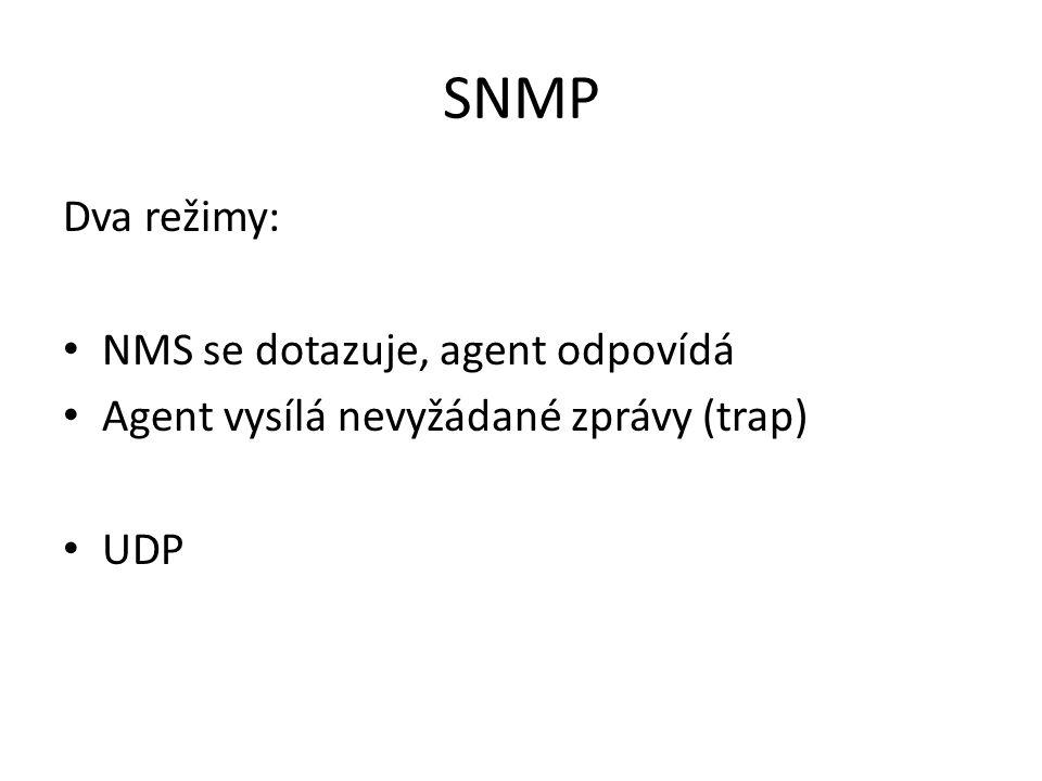 SNMP Dva režimy: NMS se dotazuje, agent odpovídá Agent vysílá nevyžádané zprávy (trap) UDP