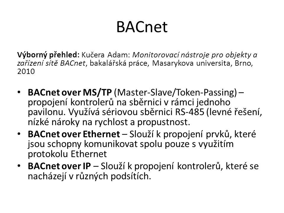 BACnet Výborný přehled: Kučera Adam: Monitorovací nástroje pro objekty a zařízení sítě BACnet, bakalářská práce, Masarykova universita, Brno, 2010 BACnet over MS/TP (Master-Slave/Token-Passing) – propojení kontrolerů na sběrnici v rámci jednoho pavilonu.