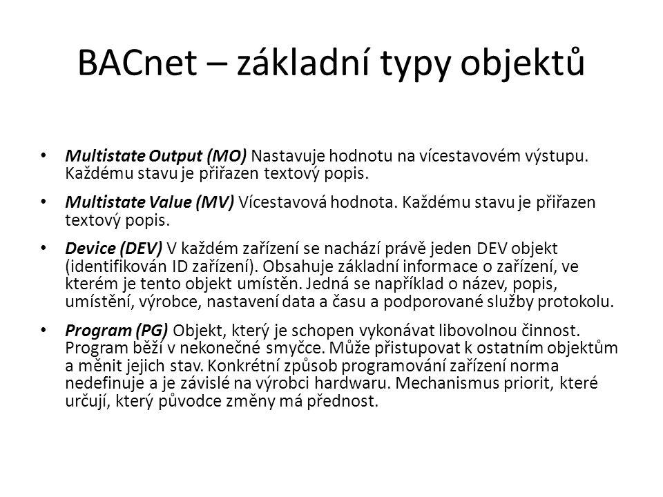 BACnet – základní typy objektů Multistate Output (MO) Nastavuje hodnotu na vícestavovém výstupu.