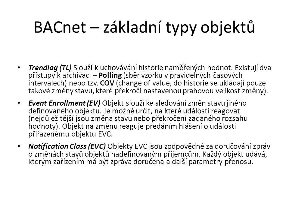 BACnet – základní typy objektů Trendlog (TL) Slouží k uchovávání historie naměřených hodnot.