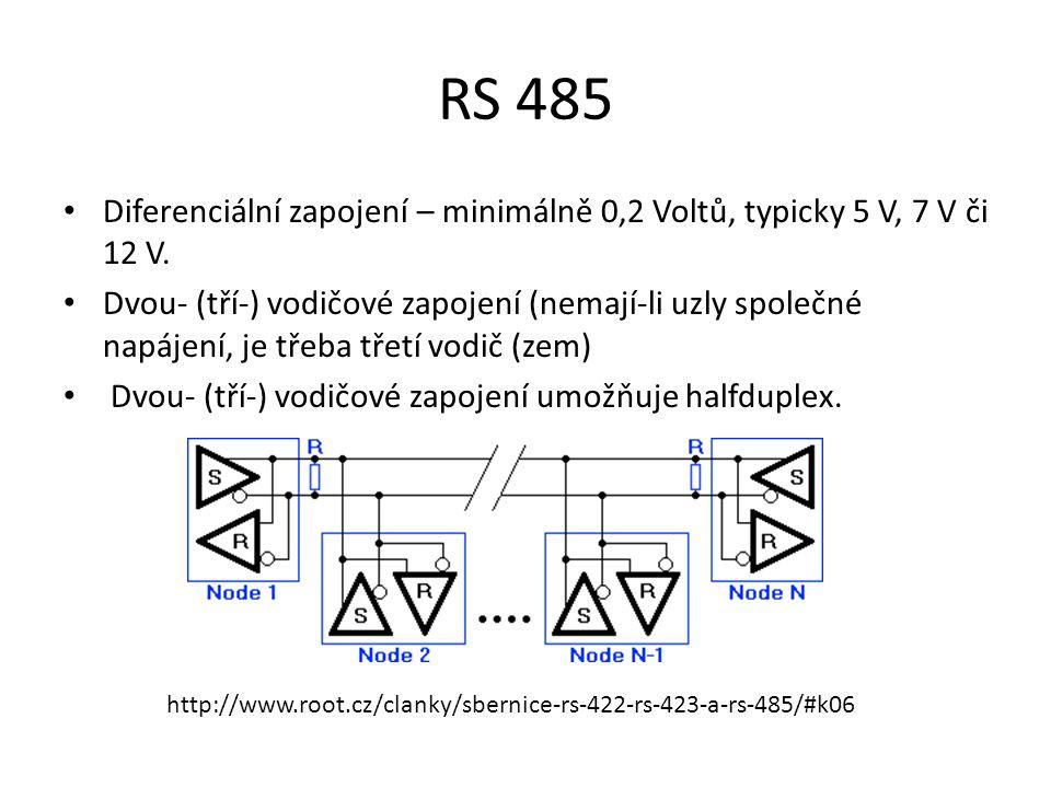 RS 485 Diferenciální zapojení – minimálně 0,2 Voltů, typicky 5 V, 7 V či 12 V.