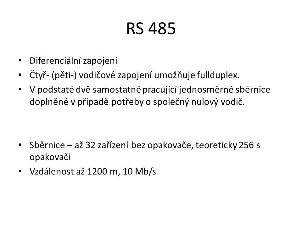 RS 485 Diferenciální zapojení Čtyř- (pěti-) vodičové zapojení umožňuje fullduplex.