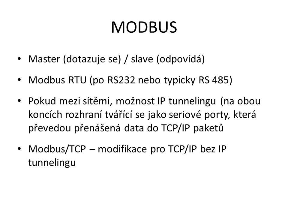 MODBUS Master (dotazuje se) / slave (odpovídá) Modbus RTU (po RS232 nebo typicky RS 485) Pokud mezi sítěmi, možnost IP tunnelingu (na obou koncích rozhraní tvářící se jako seriové porty, která převedou přenášená data do TCP/IP paketů Modbus/TCP – modifikace pro TCP/IP bez IP tunnelingu