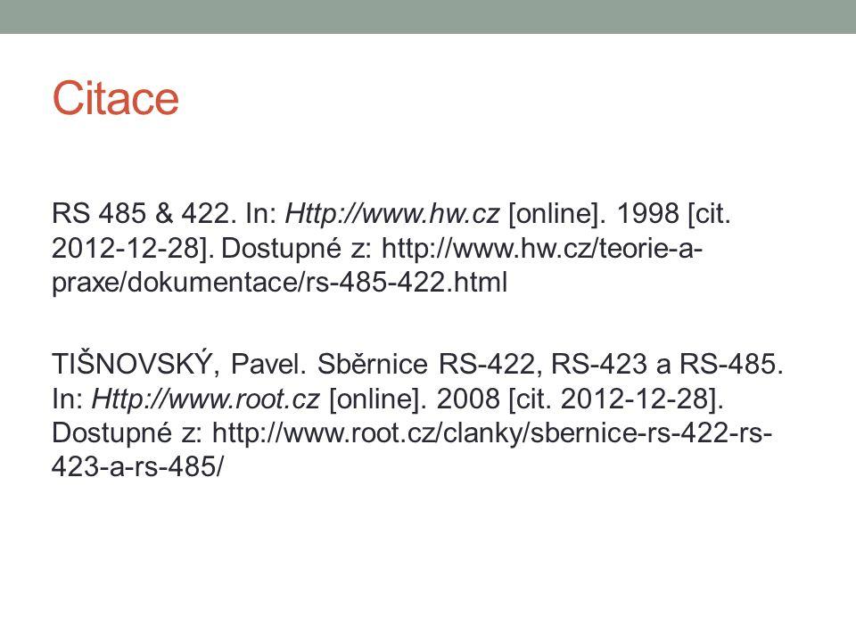 Citace RS 485 & 422. In: Http://www.hw.cz [online]. 1998 [cit. 2012-12-28]. Dostupné z: http://www.hw.cz/teorie-a- praxe/dokumentace/rs-485-422.html T