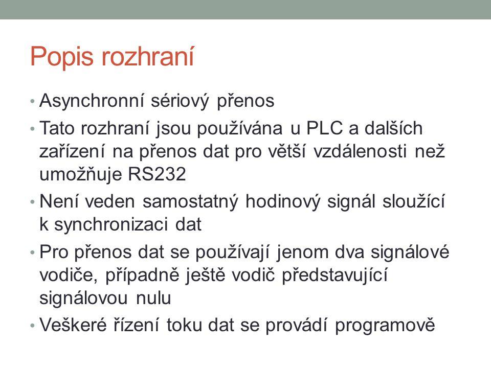 Popis rozhraní Asynchronní sériový přenos Tato rozhraní jsou používána u PLC a dalších zařízení na přenos dat pro větší vzdálenosti než umožňuje RS232