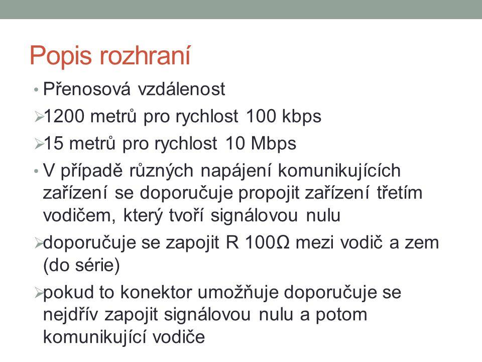 Popis rozhraní Přenosová vzdálenost  1200 metrů pro rychlost 100 kbps  15 metrů pro rychlost 10 Mbps V případě různých napájení komunikujících zaříz