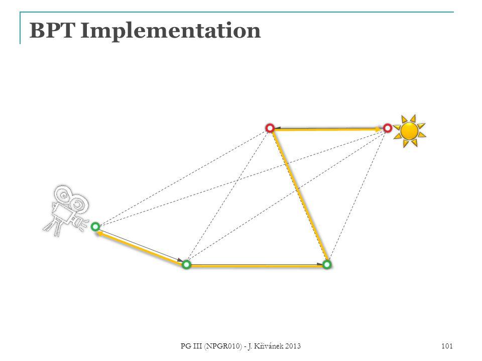 BPT Implementation 101 PG III (NPGR010) - J. Křivánek 2013
