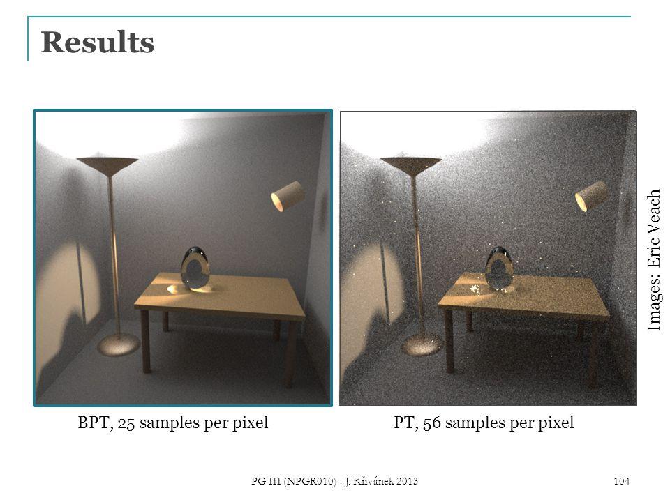 Results BPT, 25 samples per pixelPT, 56 samples per pixel Images: Eric Veach 104 PG III (NPGR010) - J.