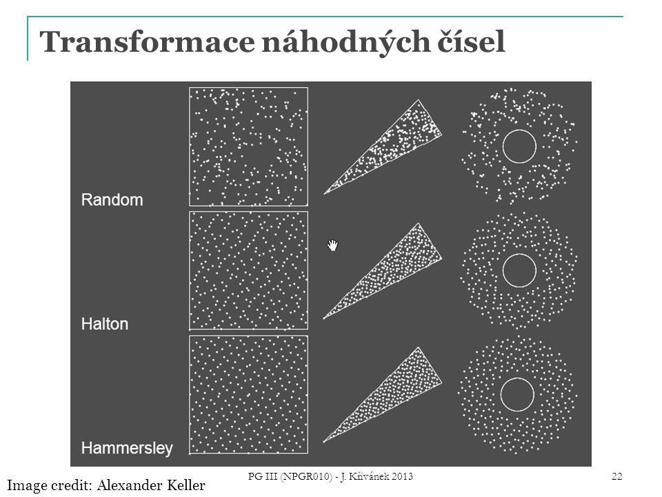 Transformace náhodných čísel Image credit: Alexander Keller PG III (NPGR010) - J. Křivánek 2013 22