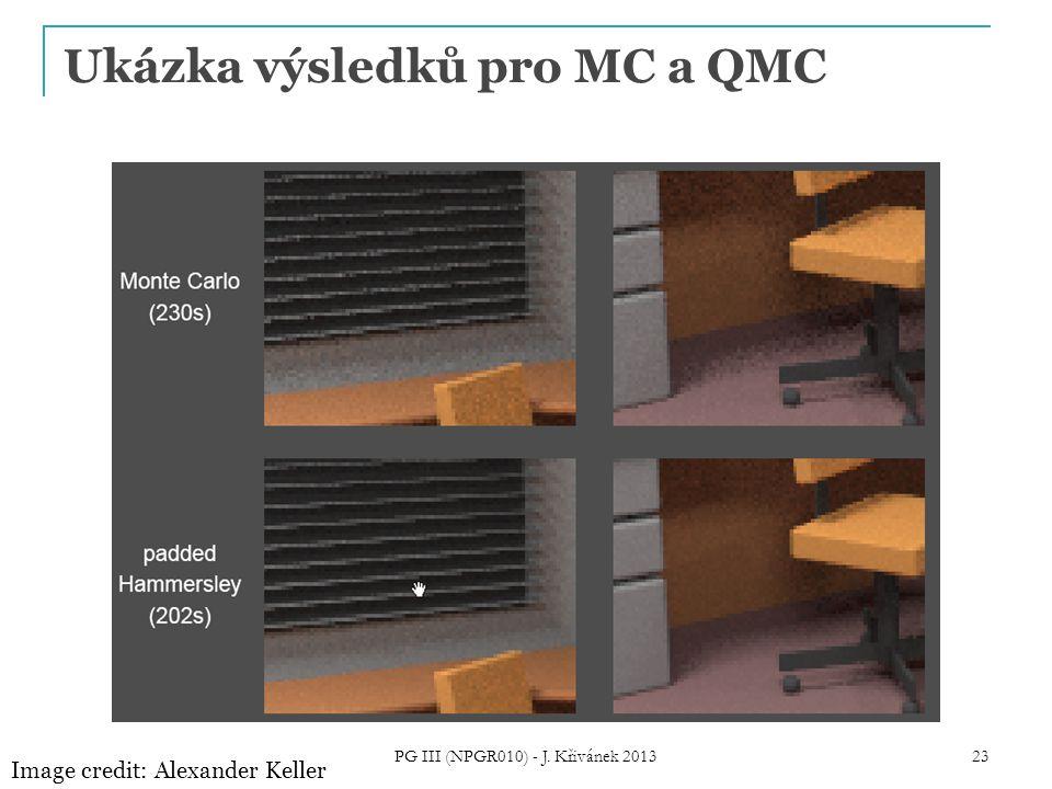 Ukázka výsledků pro MC a QMC Image credit: Alexander Keller PG III (NPGR010) - J. Křivánek 2013 23