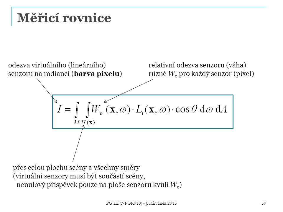 Měřicí rovnice PG III (NPGR010) - J.