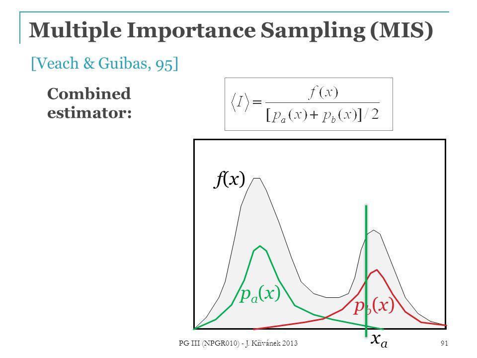 Multiple Importance Sampling (MIS) f(x)f(x) pa(x)pa(x) pb(x)pb(x) [Veach & Guibas, 95] 91 Combined estimator: xaxa PG III (NPGR010) - J.