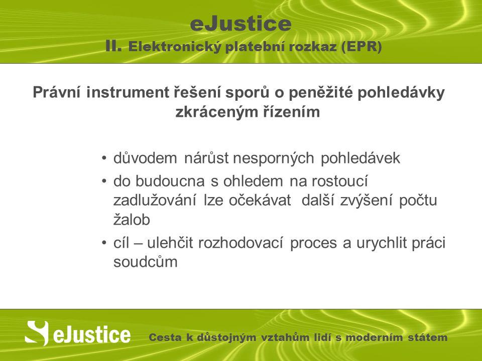 eJustice II. Elektronický platební rozkaz (EPR) Právní instrument řešení sporů o peněžité pohledávky zkráceným řízením důvodem nárůst nesporných pohle