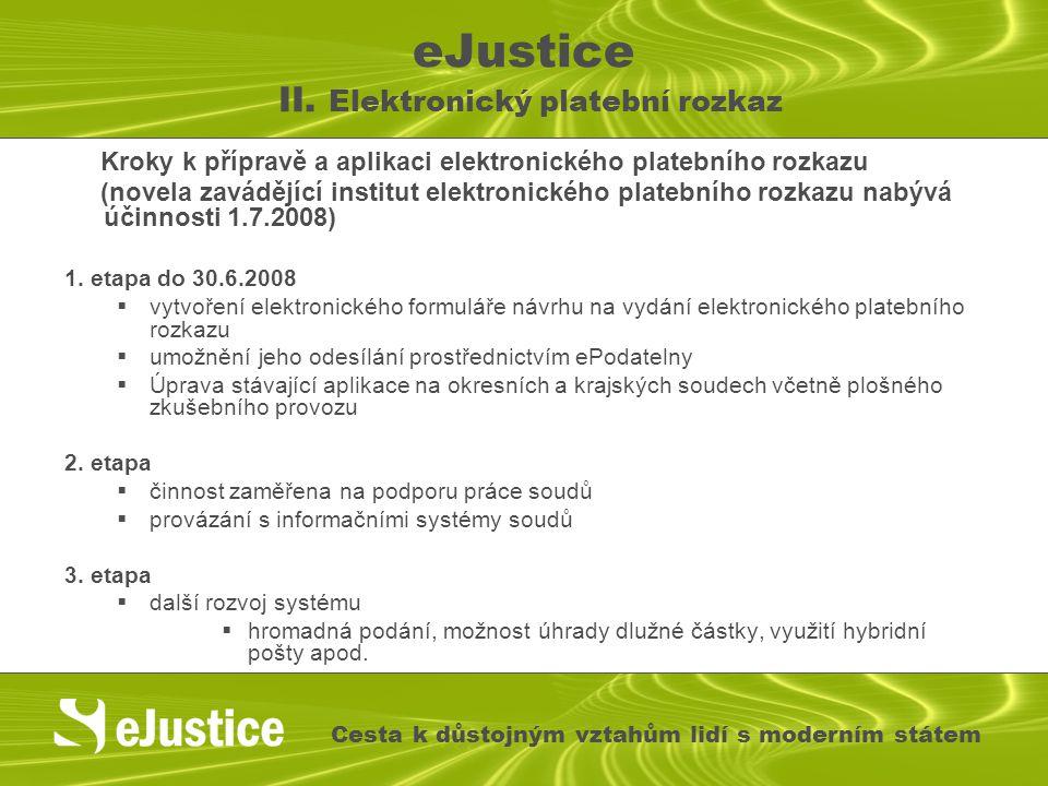 eJustice II. Elektronický platební rozkaz Kroky k přípravě a aplikaci elektronického platebního rozkazu (novela zavádějící institut elektronického pla