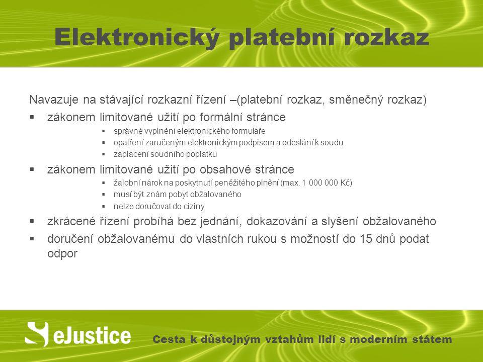 Elektronický platební rozkaz Navazuje na stávající rozkazní řízení –(platební rozkaz, směnečný rozkaz)  zákonem limitované užití po formální stránce