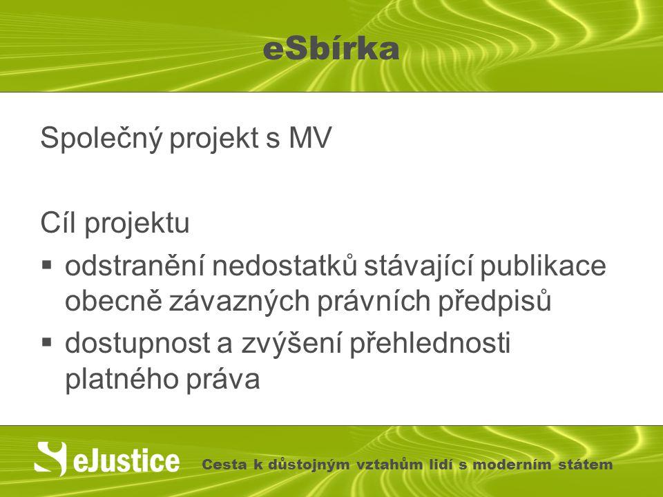 eSbírka Společný projekt s MV Cíl projektu  odstranění nedostatků stávající publikace obecně závazných právních předpisů  dostupnost a zvýšení přehl