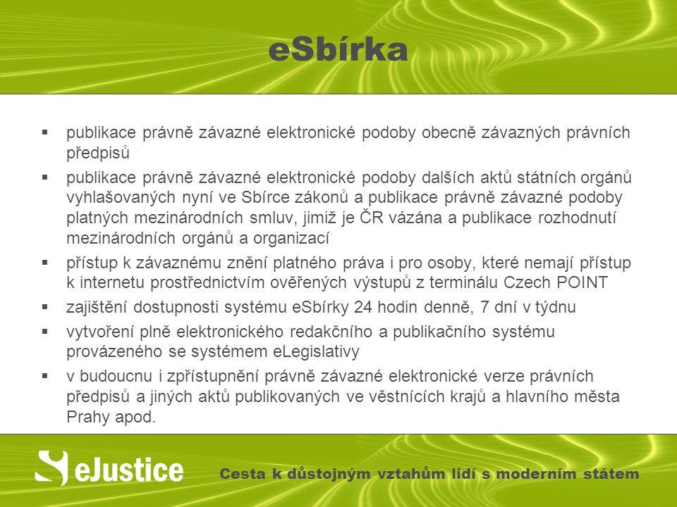 eSbírka  publikace právně závazné elektronické podoby obecně závazných právních předpisů  publikace právně závazné elektronické podoby dalších aktů