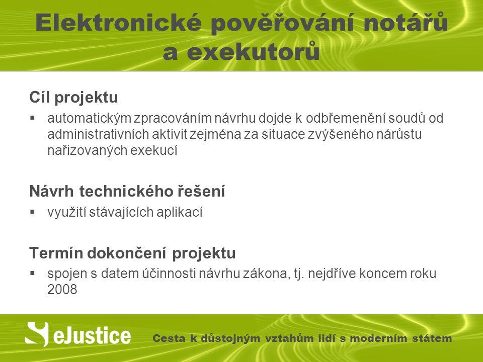 Elektronické pověřování notářů a exekutorů Cíl projektu  automatickým zpracováním návrhu dojde k odbřemenění soudů od administrativních aktivit zejmé