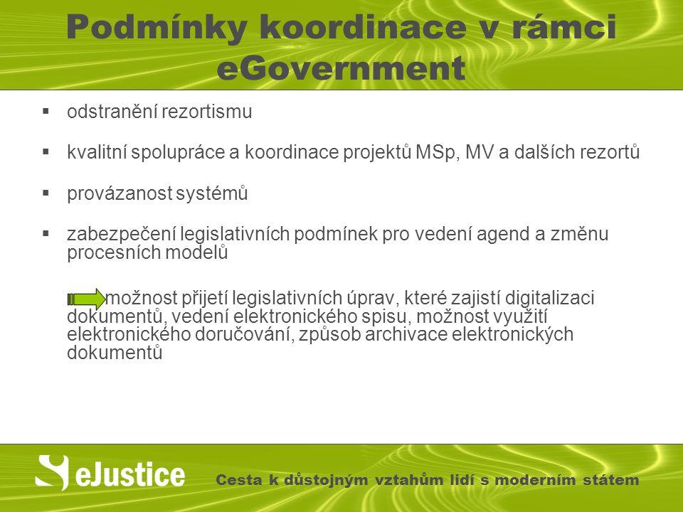 Podmínky koordinace v rámci eGovernment  odstranění rezortismu  kvalitní spolupráce a koordinace projektů MSp, MV a dalších rezortů  provázanost sy