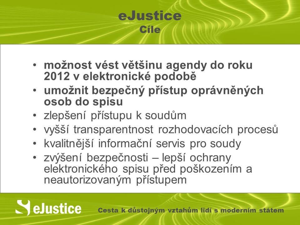 eJustice Cíle možnost vést většinu agendy do roku 2012 v elektronické podobě umožnit bezpečný přístup oprávněných osob do spisu zlepšení přístupu k so