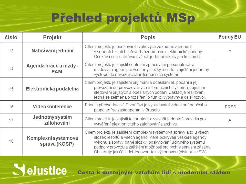 Přehled projektů MSp Cesta k důstojným vztahům lidí s moderním státem čísloProjektPopis Fondy EU 13 Nahrávání jednání Cílem projektu je pořizování zvu
