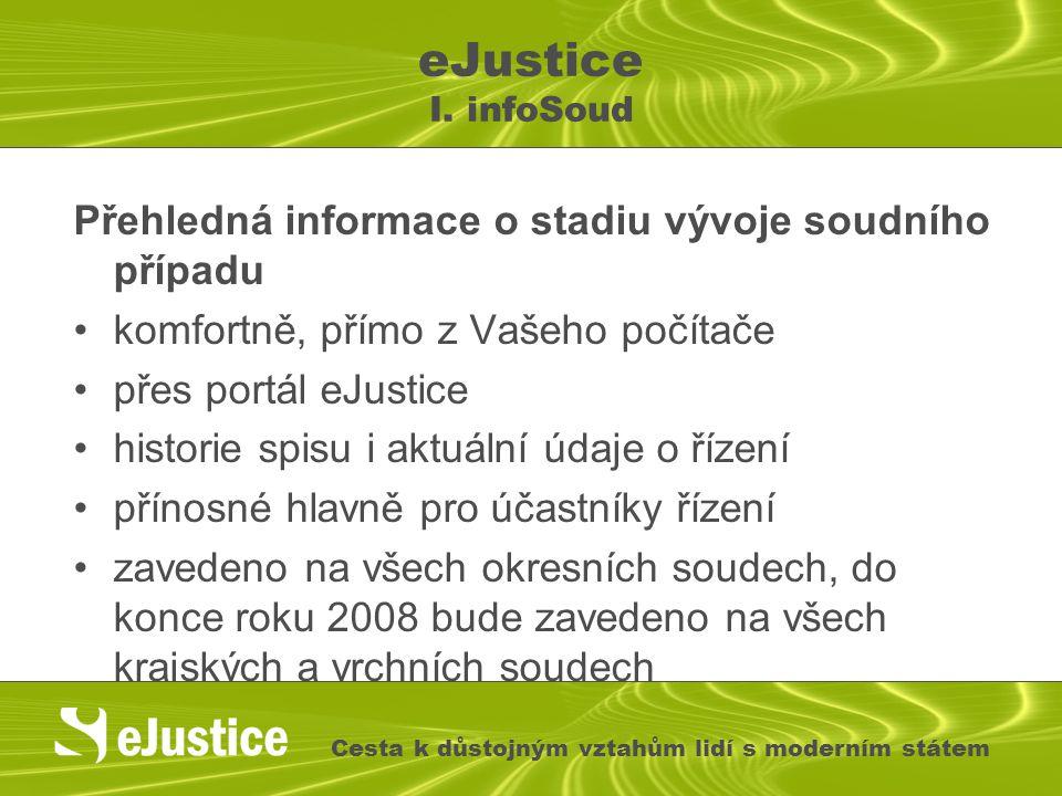 Přehledná informace o stadiu vývoje soudního případu komfortně, přímo z Vašeho počítače přes portál eJustice historie spisu i aktuální údaje o řízení